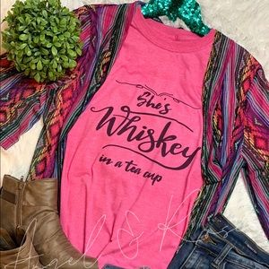 She's Whiskey 🥃 In A Tea Cup Graphic Tee Shirt